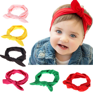 7 Colors Cute Baby Girl Cloth Headband Bowknot Headwear Children Headdress Rabbit Ears Bow Elastic Hair Band Solid Color - Babypalaces