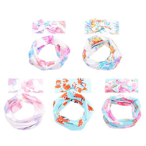 2pcs/set Cute Kids Girls Bowknot Floral Print Headband Scarf Casual Decoration Gift