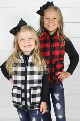 Quilted Buffalo Plaid Vest - Black & White