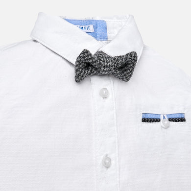 White Long Sleeve Button Up with Bowtie for Baby