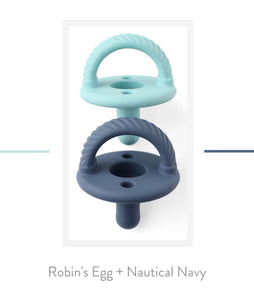 Itzy Ritzy Sweetie Soother Pacifiers Robins Egg/Nautical Navy