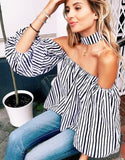 Striped Choker Off The Shoulder