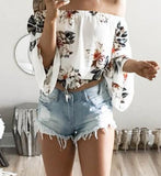 Off The Shoulder Flower Chiffon Blouse