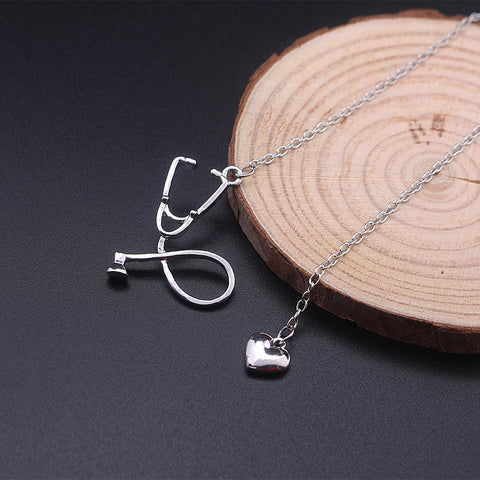 Heart and Stethoscope Necklace