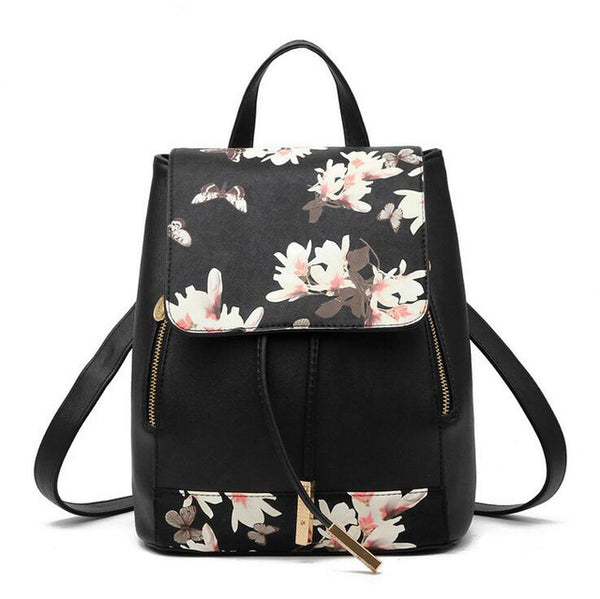 Pink Feathers Floral Backpack