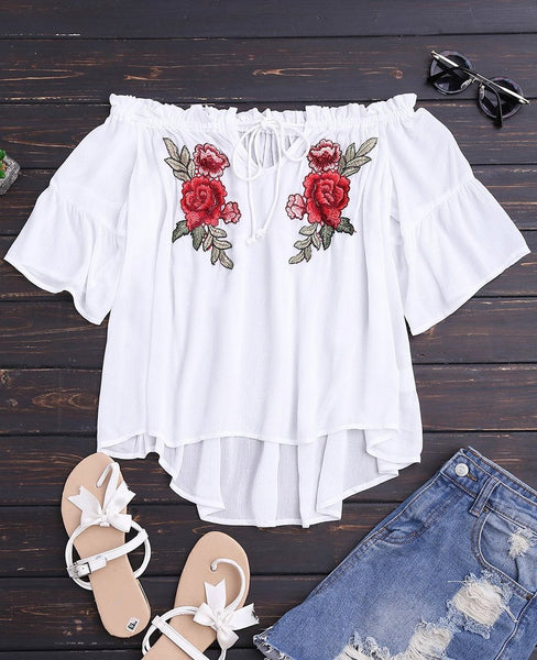 Rose Off The Shoulder Lace  Blouse