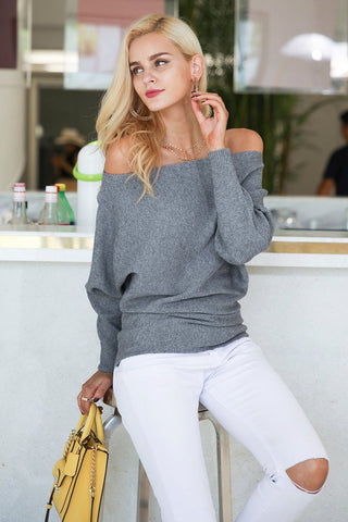Off The Shoulder Knitted Blouse