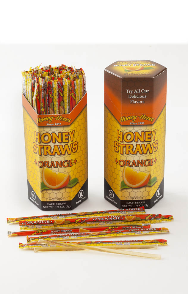 Honey Straws - Orange - 100ct Box