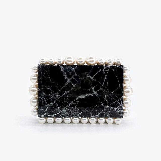 Marble Bubble Rim Clutch Bag acrylic bag God's Gift London Beige Beads Black / L18.5 x W5 x H11.5cm