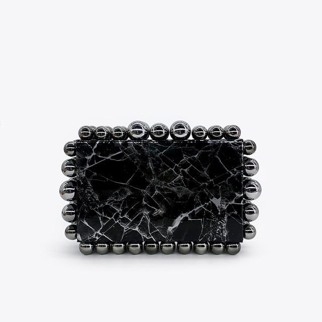 Marble Bubble Rim Clutch Bag acrylic bag God's Gift London Black