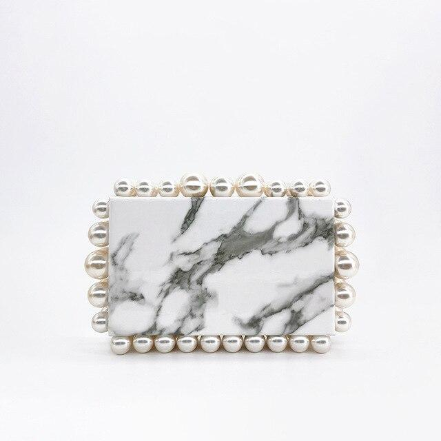 Marble Bubble Rim Clutch Bag acrylic bag God's Gift London White