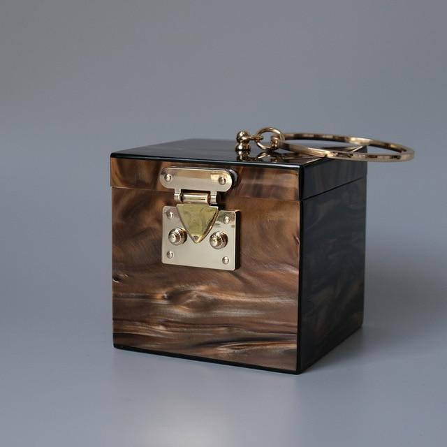 Ring Handle Box Bag acrylic bag God's Gift London Brown / 11.8cm