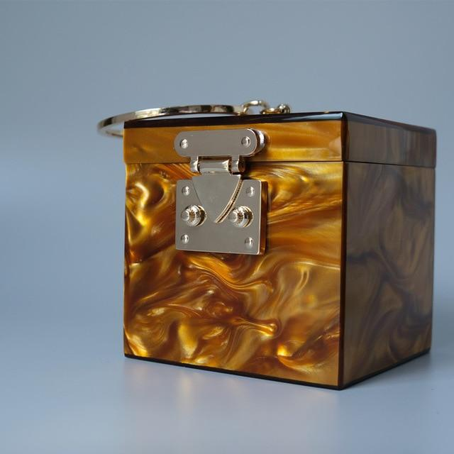 Ring Handle Box Bag acrylic bag God's Gift London Dark Orange