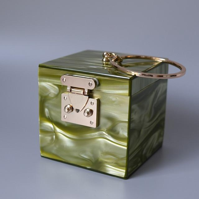 Ring Handle Box Bag acrylic bag God's Gift London Green / 11.8cm