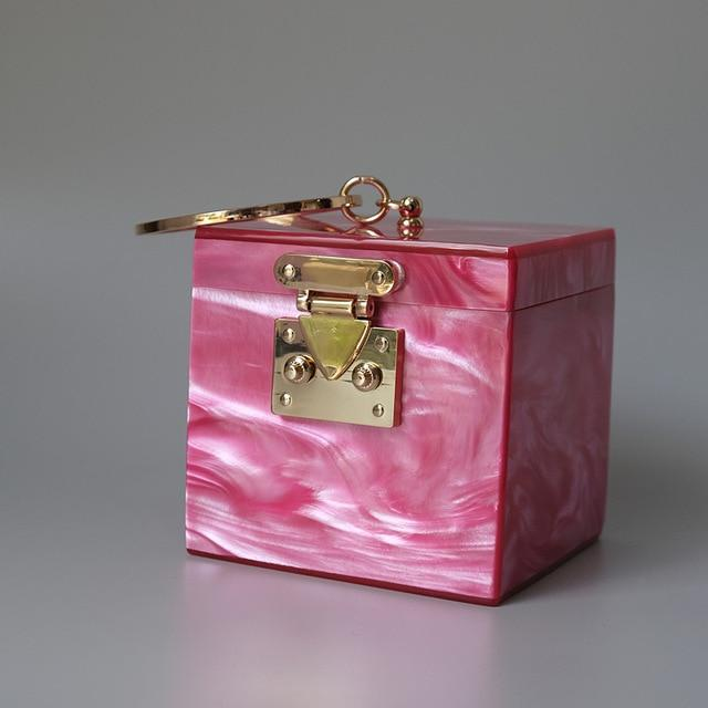Ring Handle Box Bag acrylic bag God's Gift London Pink