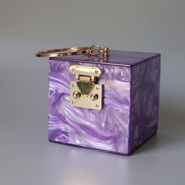 Ring Handle Box Bag acrylic bag God's Gift London Purple