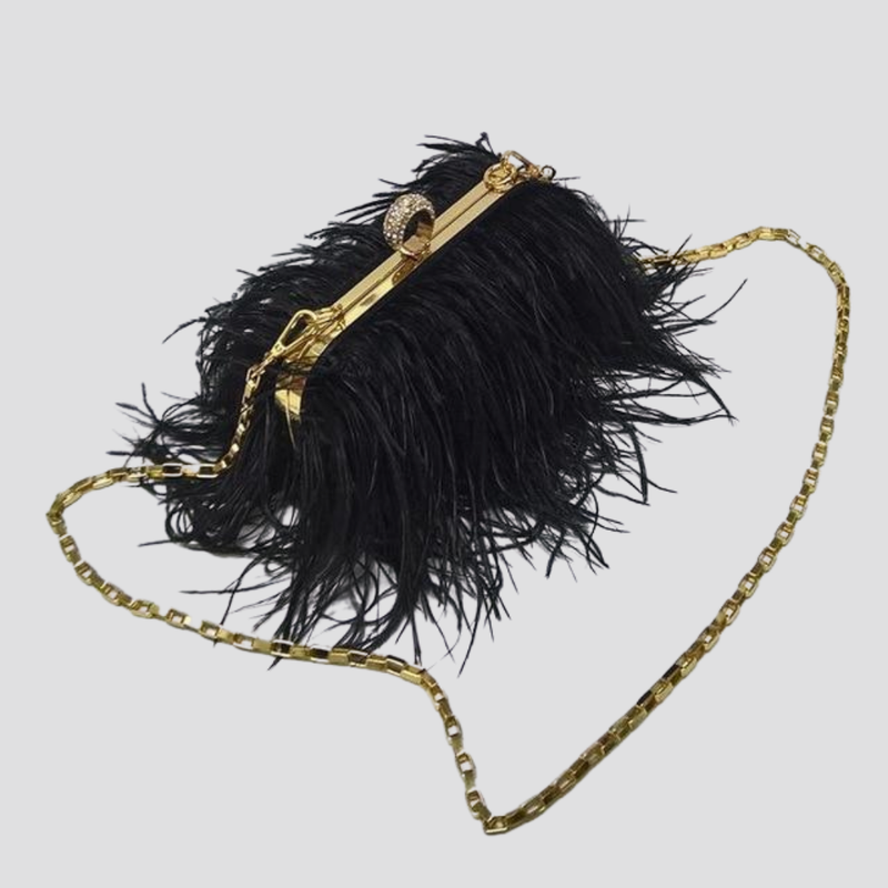 Straight Feather Crystal Clasp Bag acrylic bag God's Gift London black