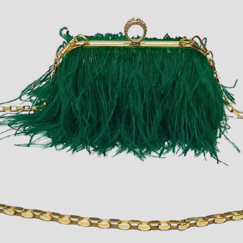 Straight Feather Crystal Clasp Bag acrylic bag God's Gift London green