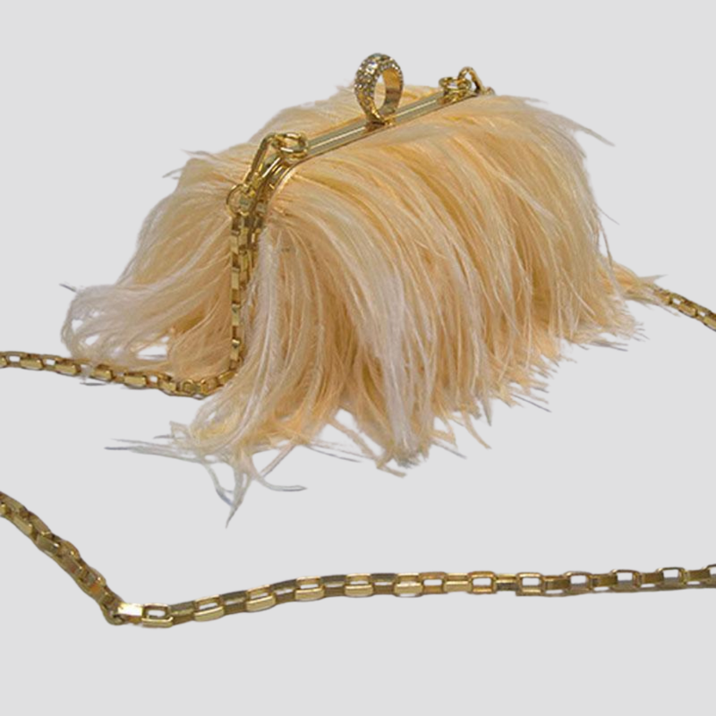 Straight Feather Crystal Clasp Bag acrylic bag God's Gift London light yellow