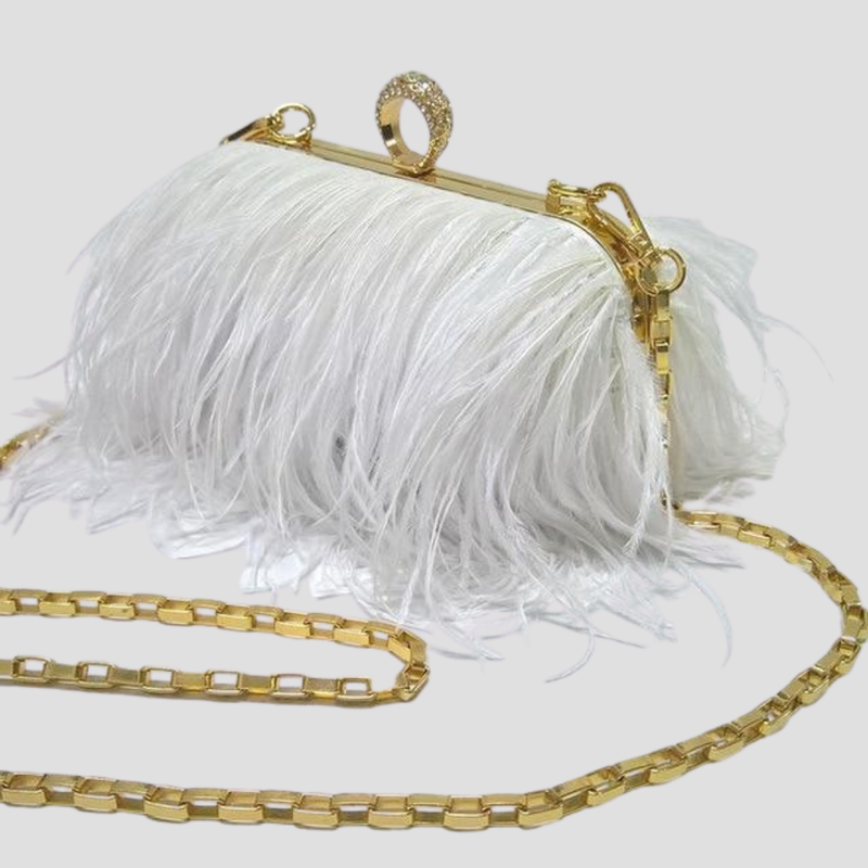 Straight Feather Crystal Clasp Bag acrylic bag God's Gift London white