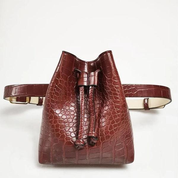 Croc - Snake Pattern Belt Bags Belt Bags God's Gift London Brown Red Croc