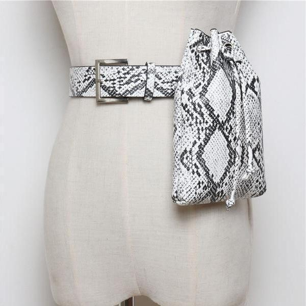 Drawstring Belt Bag Snake Belt Bags God's Gift London white