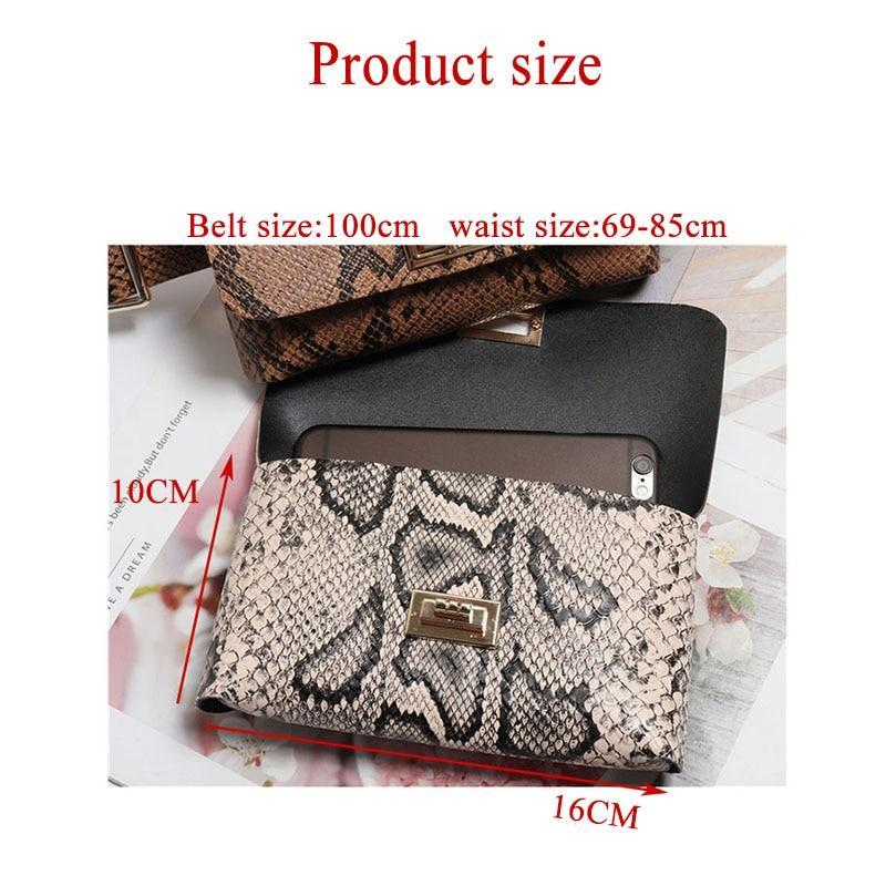 Hasp Closure Snakeprint Belt Bag