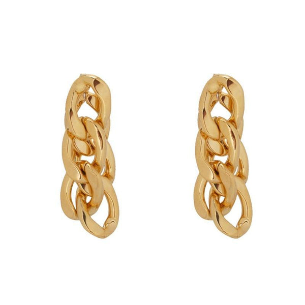 Double Chunky Chain Gold Earrings