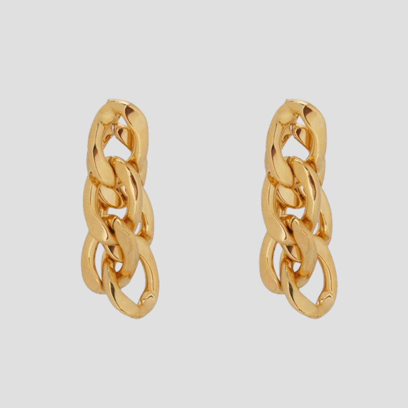 Double Chunky Chain Gold Earrings earring God's Gift London