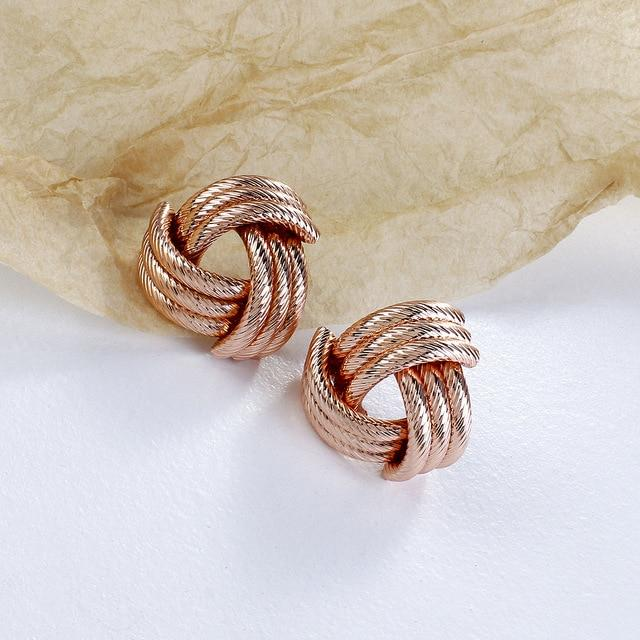 Knot Twisted Stud Earrings - Multiple Styles earring God's Gift London Rose Gold