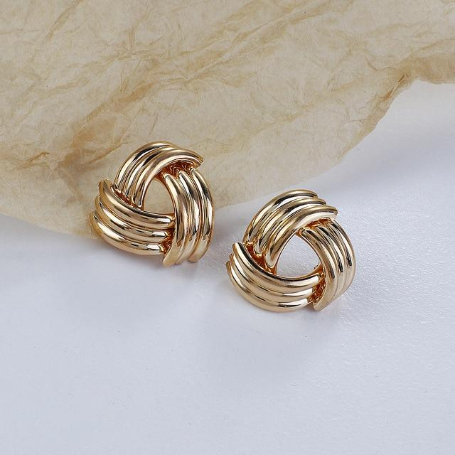Knot Twisted Stud Earrings - Multiple Styles earring God's Gift London Shiny Gold