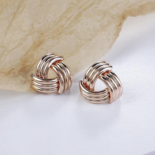 Knot Twisted Stud Earrings - Multiple Styles earring God's Gift London Shiny Rose Gold