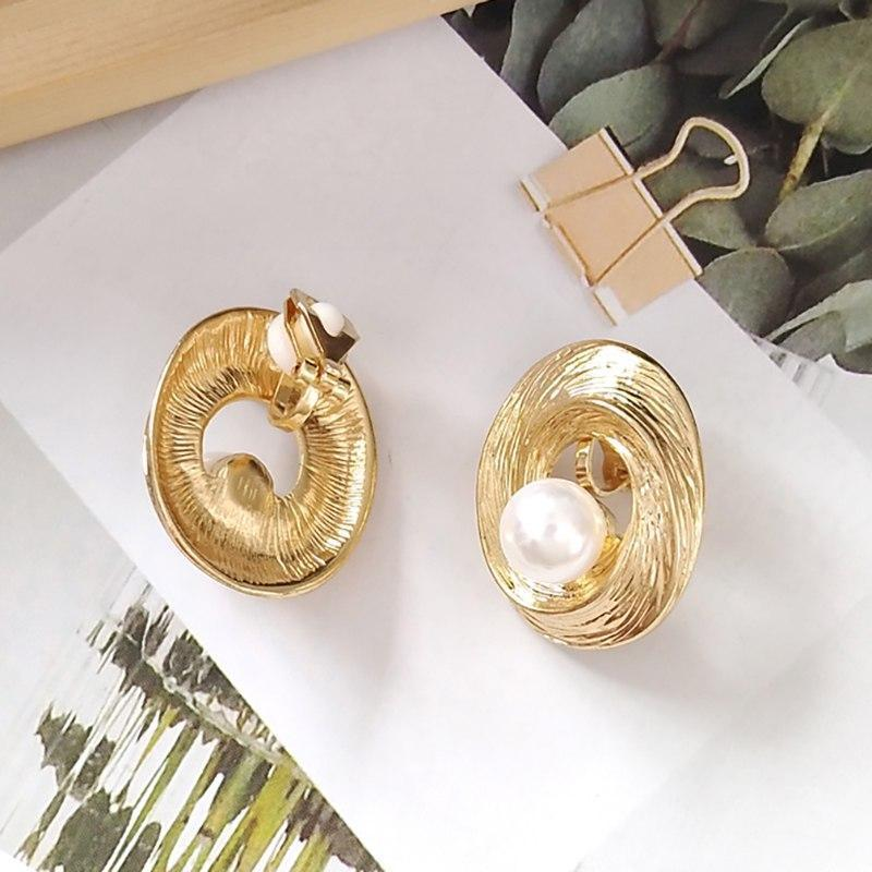 Spiral Pearl Earrings Stud or Clip On
