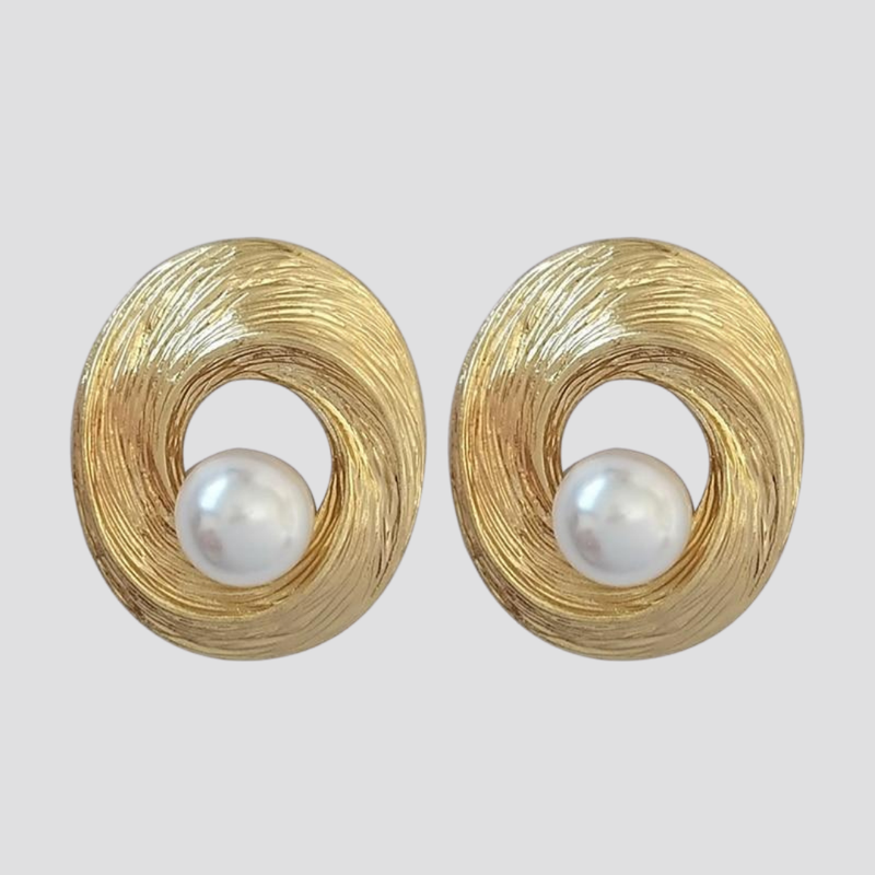 Spiral Pearl Earrings Stud or Clip On earring God's Gift London Stud