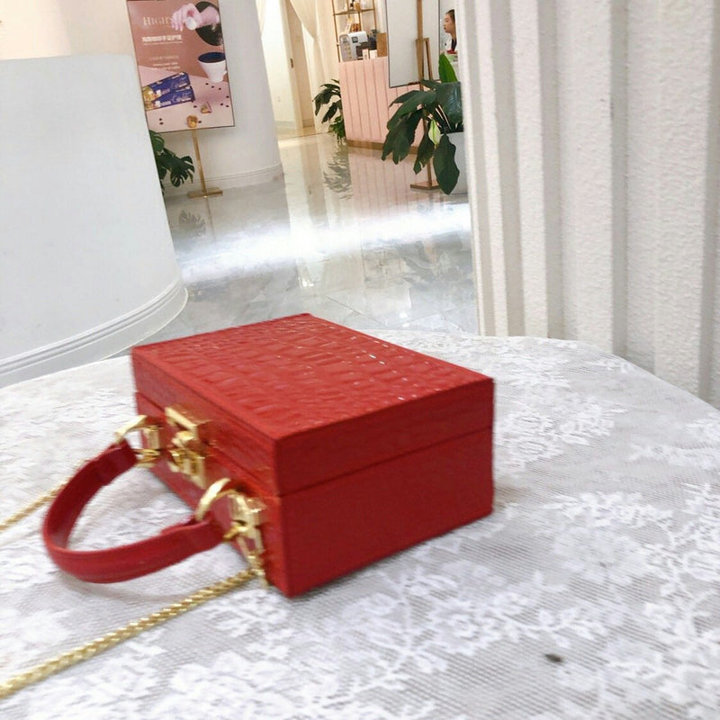 Croc Pattern Box Bag
