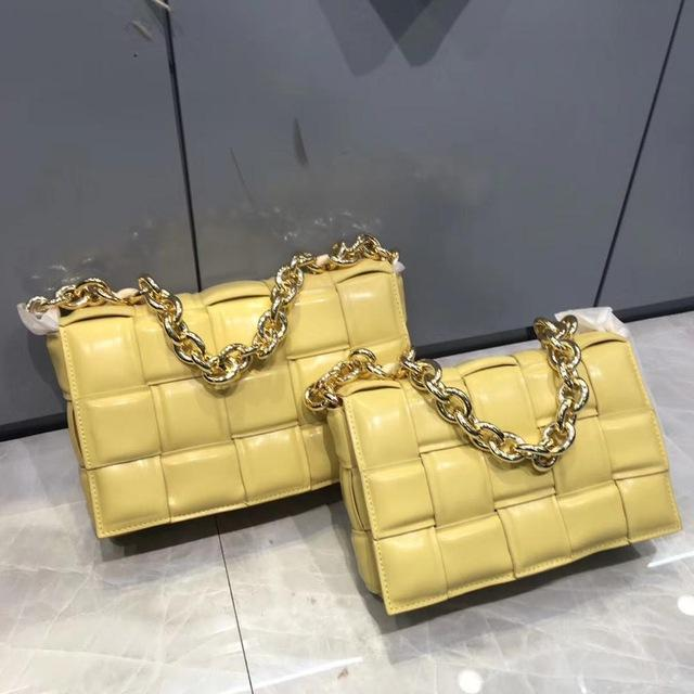 Genuine Leather Chain Quilt Bag Handbag God's Gift London Yellow / M