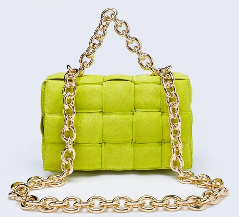 Suede Chain Handle Quilt Bag Handbag God's Gift London
