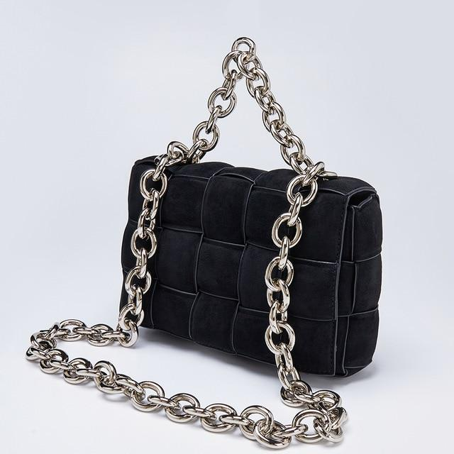 Suede Chain Handle Quilt Bag Handbag God's Gift London Black / L24xW9xH16CM