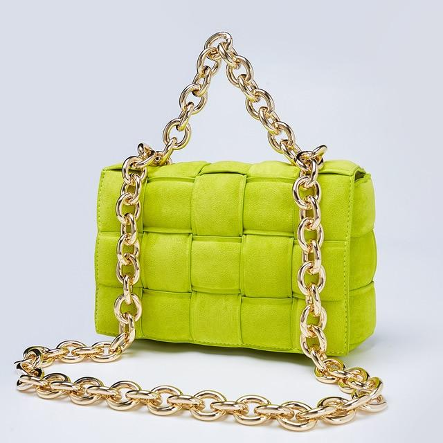 Suede Chain Handle Quilt Bag Handbag God's Gift London Green / L24xW9xH16CM