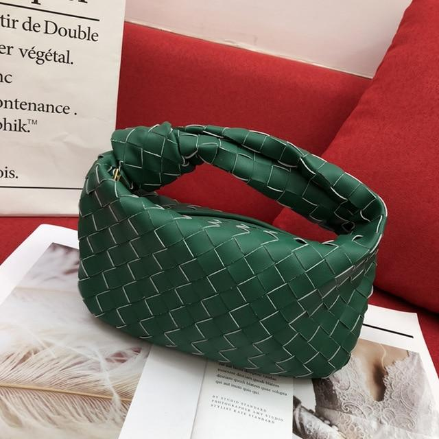 Woven Knot Large Handbag Handbag God's Gift London Dark Green