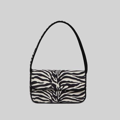 Zebra Canvas Shoulder Bag Handbag God's Gift London Black