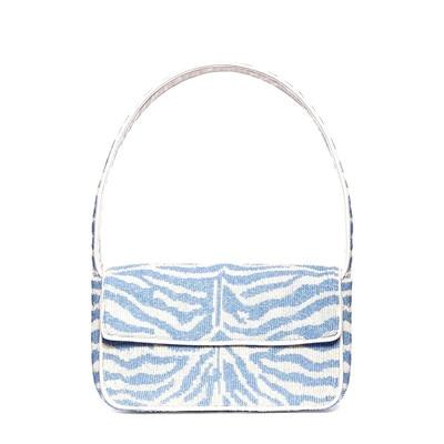 Zebra Canvas Shoulder Bag Handbag God's Gift London Sky Blue
