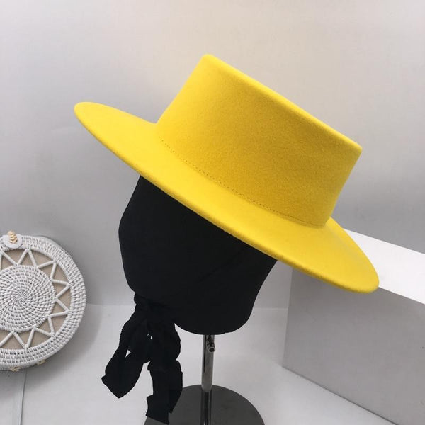 Wide Brim Hat - Yellow Black