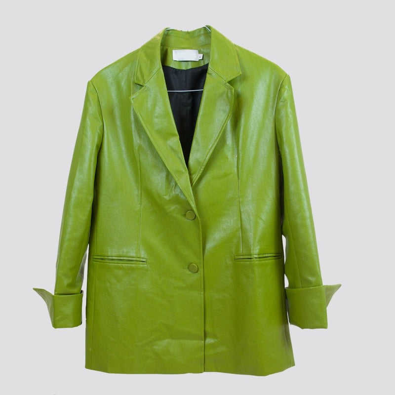 Green/Black Pu Leather Jacket Jacket God's Gift London