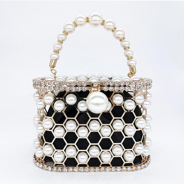 Beaded Pearl Cage Bag Pearl Bag God's Gift London black / L18.5 W10 H13cm