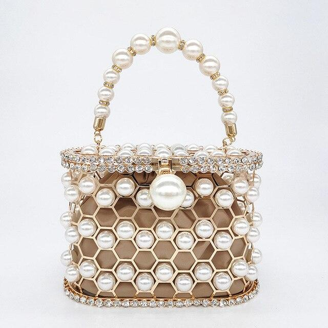 Beaded Pearl Cage Bag Pearl Bag God's Gift London khaki / L18.5 W10 H13cm