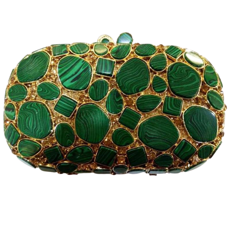 Green Stone Gold Clutch Bag Pearl Bag God's Gift London