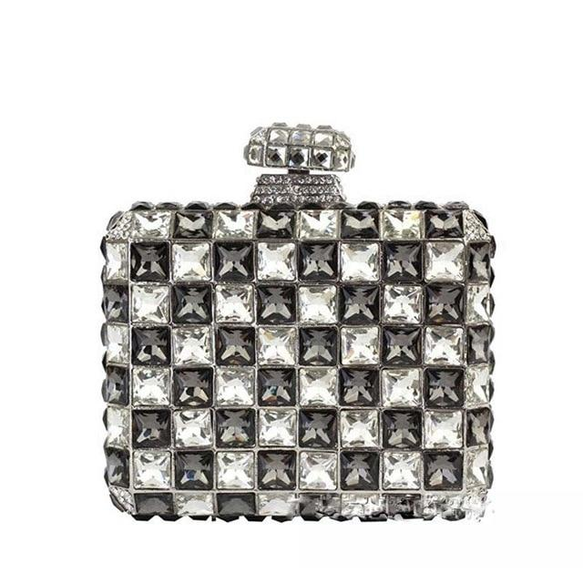 Tiled Rhinestone Clutch Pearl Bag God's Gift London Black/Clear / 17cmX17cmX5cm