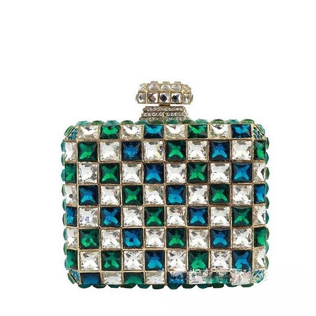 Tiled Rhinestone Clutch Pearl Bag God's Gift London Blue