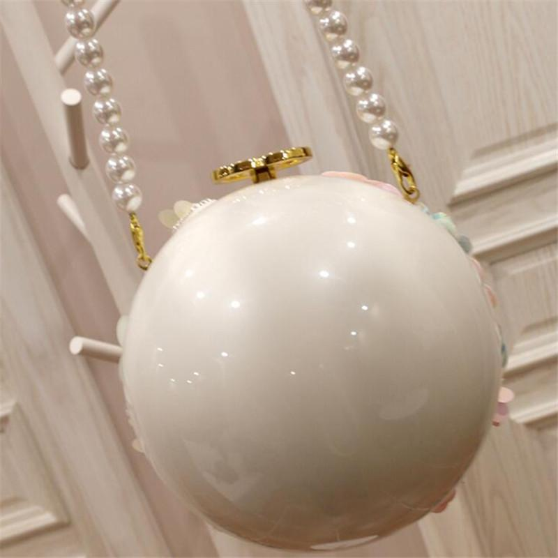 Round Faux Pearl Floral Bag